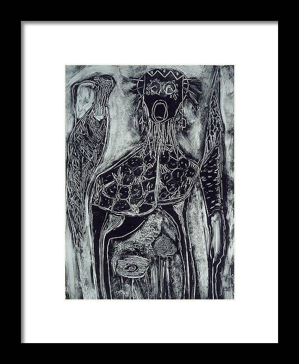 Primitive Framed Print featuring the print Primal by Angela Dickerson