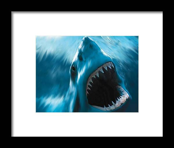 Shark Ocean Blue Great White Digital Painting Robert Bewick Framed Print featuring the digital art Primal Need by Robert Bewick