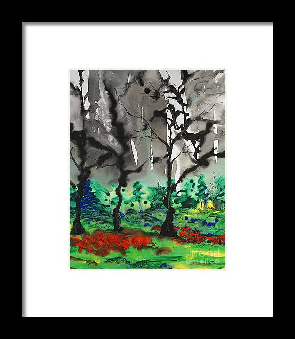 Forest Framed Print featuring the painting Primary Forest by Nadine Rippelmeyer
