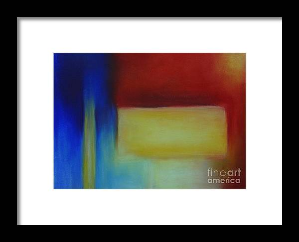 Leilaatkinson Abstract Pastel Red Yellow Blue Composition Framed Print featuring the painting Primary by Leila Atkinson