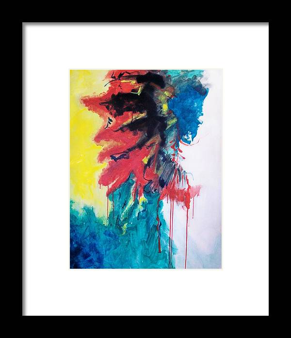 Abstract Framed Print featuring the painting Primary by Linda Frank