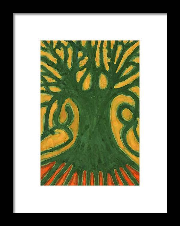 Colour Framed Print featuring the painting Primitive Tree by Wojtek Kowalski