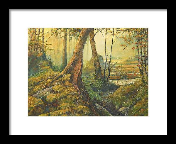 Landscape Framed Print featuring the painting Primordial Exploration by Craig shanti Mackinnon