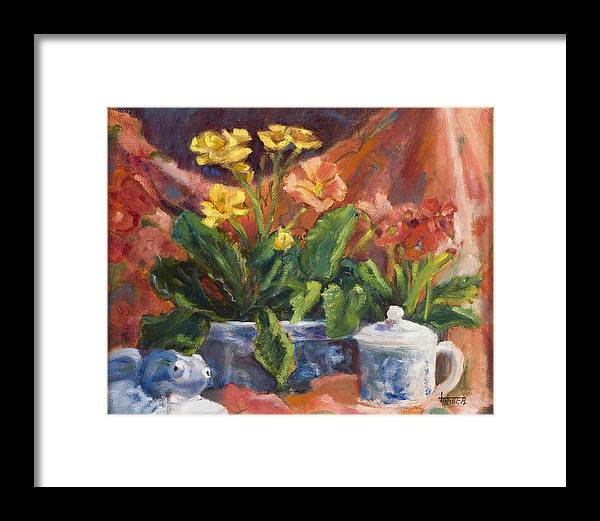 Flowers Framed Print featuring the painting Primroses And Blue China by Jimmie Trotter