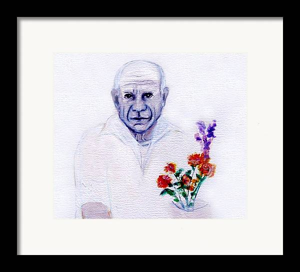 Pablo Picasso Framed Print featuring the painting Primroses For Picasso by Michela Akers