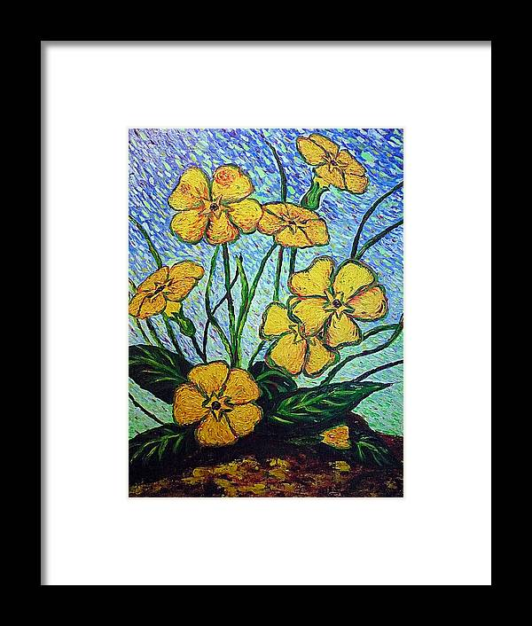 Flowers Framed Print featuring the painting Primula Veris by Ericka Herazo