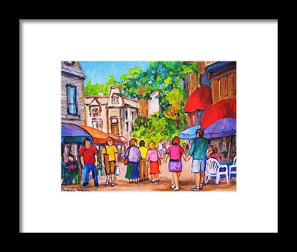 Rue Prince Arthur Montreal Street Scenes Framed Print featuring the painting Prince Arthur Street Montreal by Carole Spandau