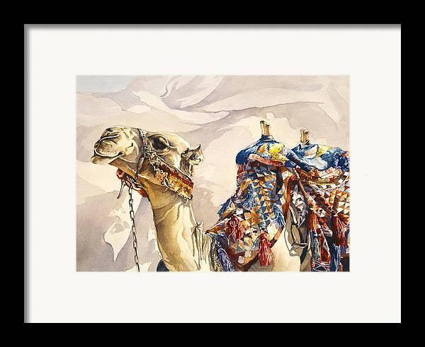 Camel Framed Print featuring the painting Prince Of The Desert by Beth Kantor