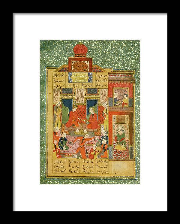 King Bahram In The Red Pavilion Listening To The Story Of The Princess Of The Fourth Clime Framed Print featuring the painting Princess Of The Fourth Clime by Eastern Accent