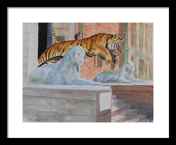 Priceton Tiger Framed Print featuring the painting Princeton Tiger by Haldy Gifford