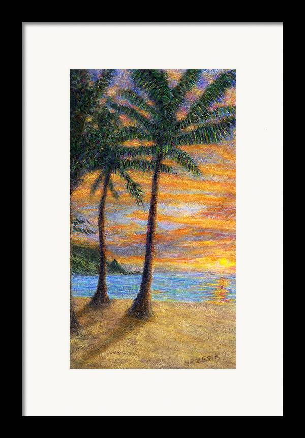 Coastal Decor Framed Print featuring the painting Princeville Beach Palms by Kenneth Grzesik