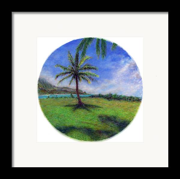 Rainbow Colors Pastel Framed Print featuring the painting Princeville Palm by Kenneth Grzesik