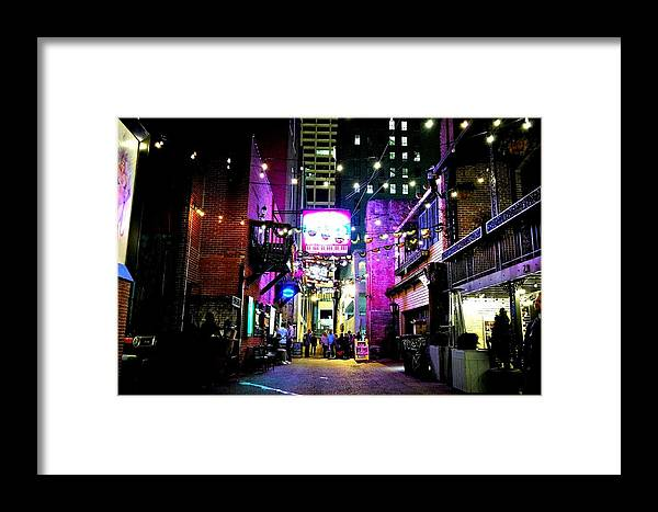 Nashville Printers Alley Framed Print featuring the photograph Printers Alley 1 by Michael Cooley