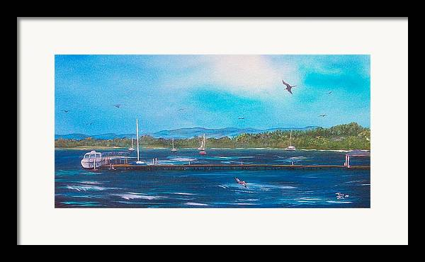 Seascape Framed Print featuring the painting Private Dock by Tony Rodriguez
