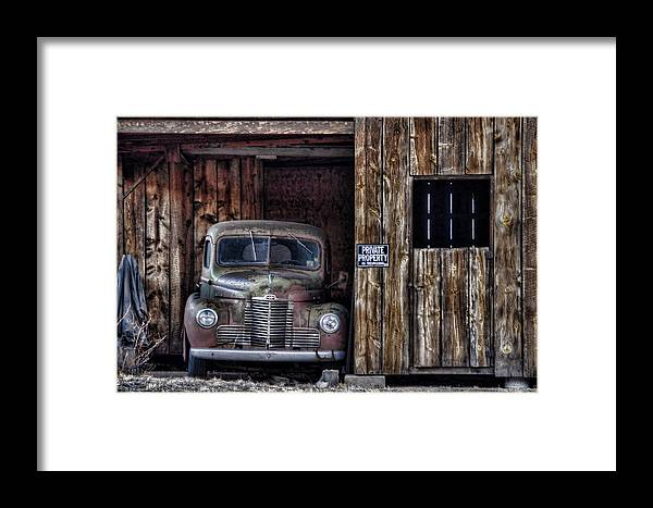 Vintage Car Framed Print featuring the photograph Private Parking by Ken Smith