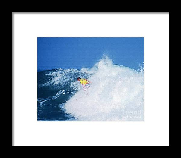 Professional-surfer-surfers Framed Print featuring the photograph Pro Surfer Chris Ward - 2 by Scott Cameron
