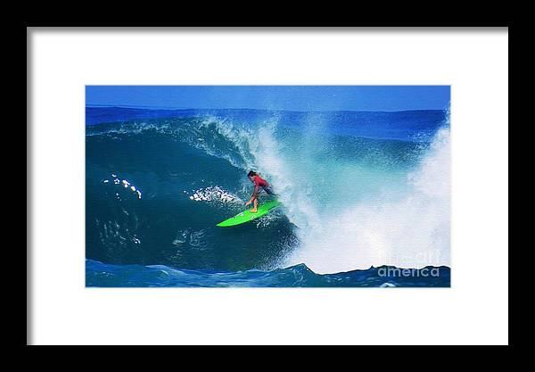 Professional-surfer-surfers Framed Print featuring the photograph Pro Surfer Keanu Asing-2 by Scott Cameron
