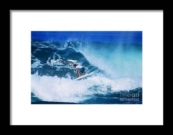 Professional-surfer-surfers Framed Print featuring the photograph Pro Surfer Olamana Eleogram-1 by Scott Cameron