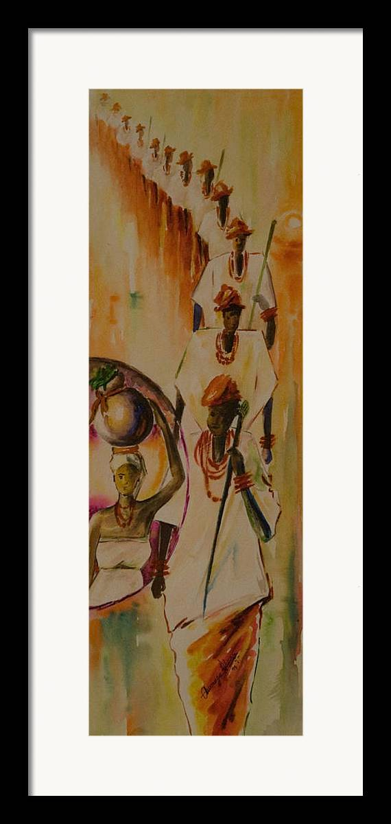 Framed Print featuring the painting Procession by Alfred Awonuga
