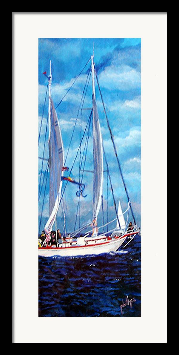 Sailboat Framed Print featuring the painting Profile Of A Sailboat by Jim Phillips