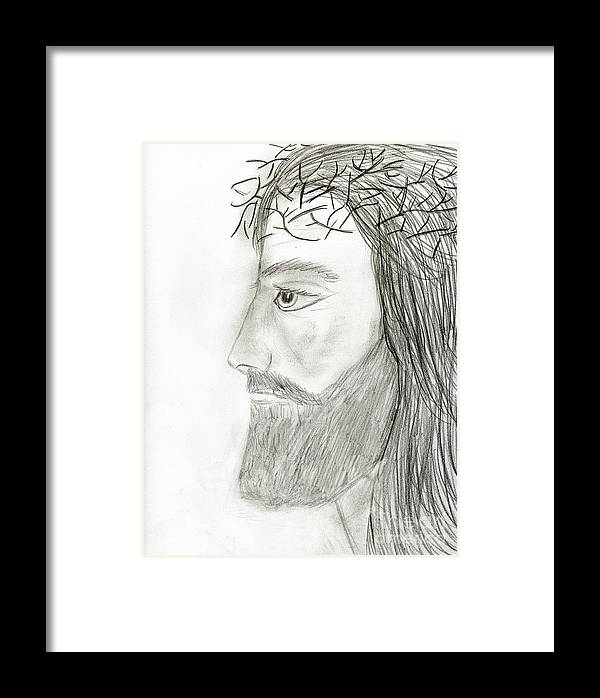 Profile Of Jesus Framed Print by Sonya Chalmers