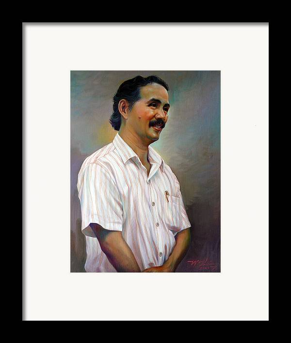 Portrait Framed Print featuring the painting Prof.panya Petchoo by Chonkhet Phanwichien