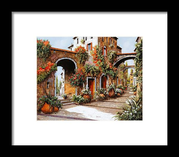 Landscape Framed Print featuring the painting Profumi Di Paese by Guido Borelli