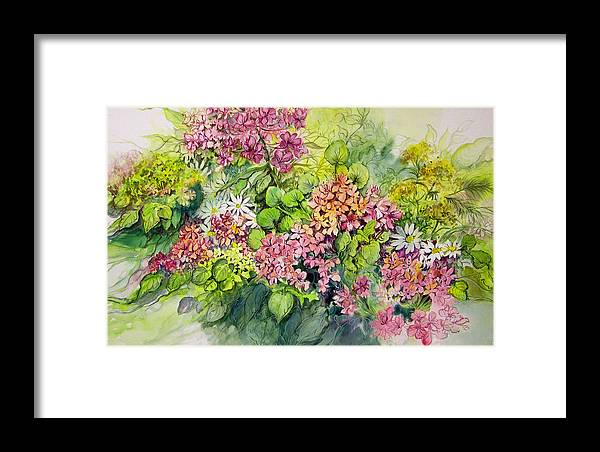 Flowers;floral;watercolor Floral;contemporary Floral;daisies; Framed Print featuring the painting Profusion Of Colors by Lois Mountz