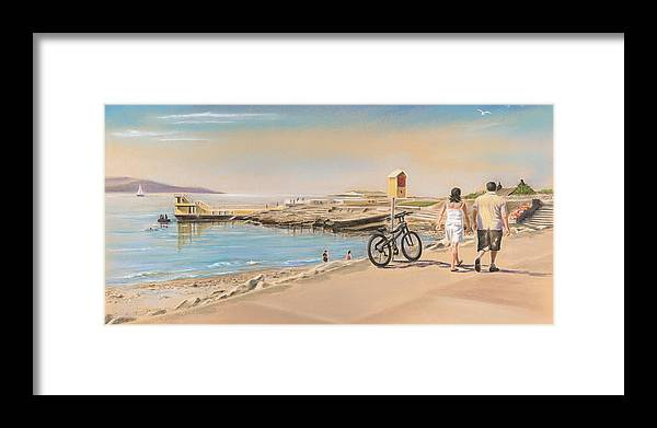 Irish Art Framed Print featuring the painting Promenade At Salthill Galway by Vanda Luddy