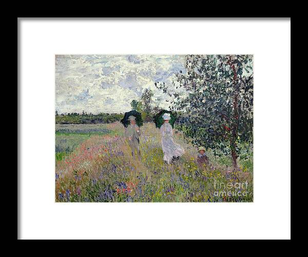 Walk; Walking; Landscape; Impressionist; Male; Female; Family; Child; Parasol; Parasols; Monet; Claude; Family; Umbrella; Umbrellas; Dress; Suit; Hat; Hats; Stroll; Tree; Trees; Grass; Grassy; Green; Flower; Flowers; Bush; Bushes; Argenteuil Framed Print featuring the painting Promenade near Argenteuil by Claude Monet