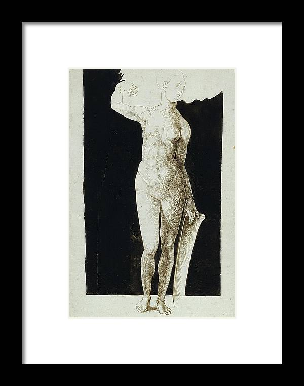 Albrecht Duerer Framed Print featuring the drawing Proportion Study Of Female Nude With A Shield by Albrecht Duerer