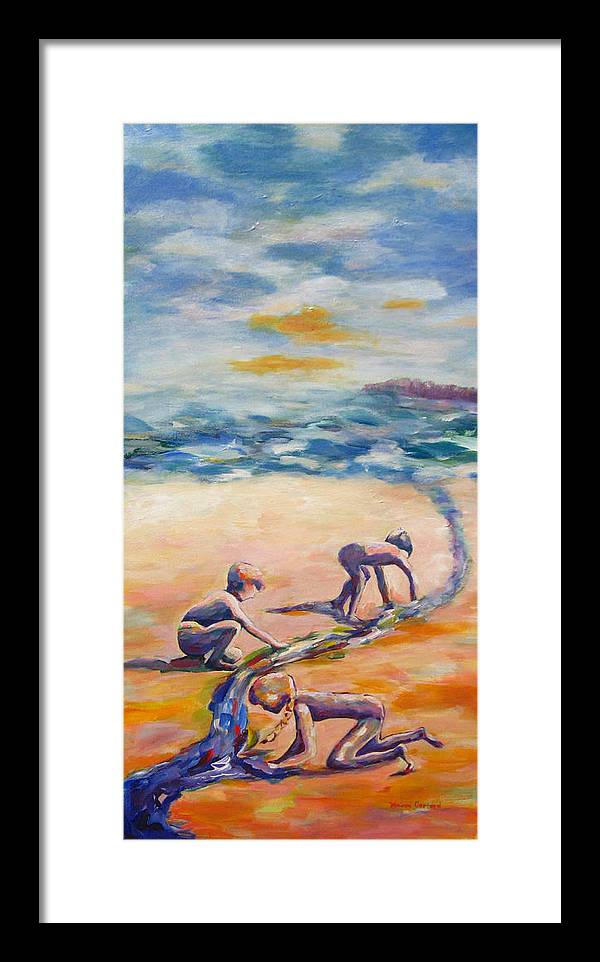 Our Kids Playing On The Beach Creating A River That They Feel Very Protective Of.  Framed Print featuring the painting Protecting Our River by Naomi Gerrard