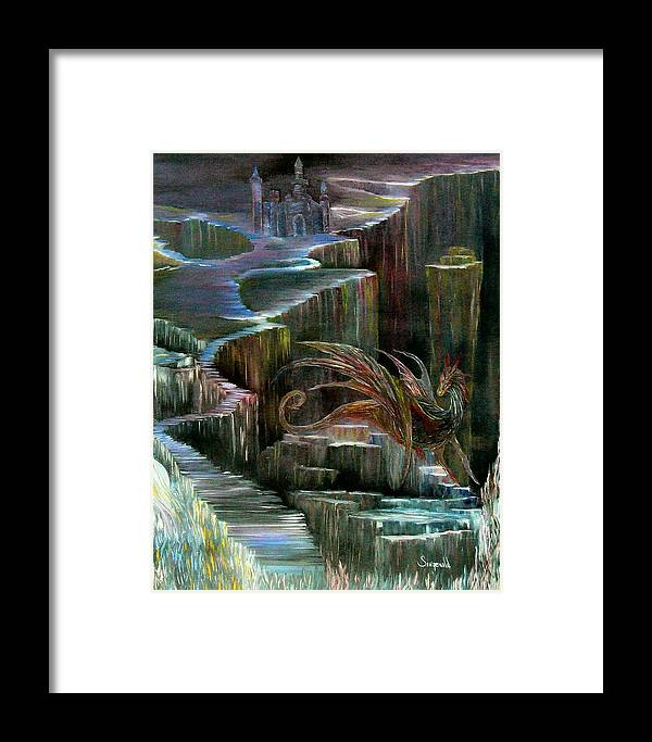 Dragon Framed Print featuring the painting Protector by Cary Singewald