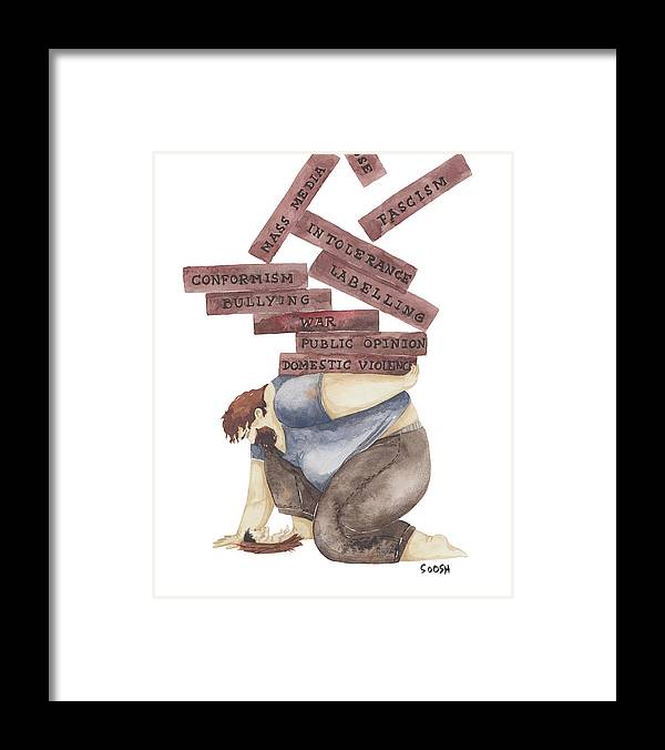 Vskafandre Framed Print featuring the drawing Protector by Soosh