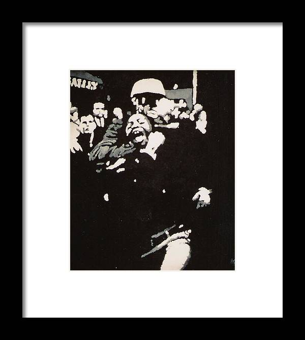 Civil Rights Framed Print featuring the painting Protestor Yells To The Photographer During An Arrest 1968 by Lauren Luna