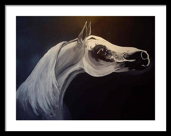 Horse Framed Print featuring the painting Proud Arabian Stallion by Glenda Smith
