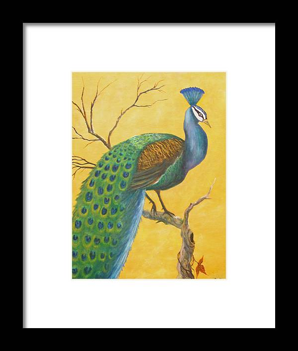 Peacock; Birds; Fall Leaves Framed Print featuring the painting Proud As A Peacock by Ben Kiger