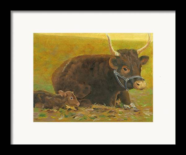 Cow Calf Bull Farmscene Framed Print featuring the painting Proud Pappa by Paula Emery