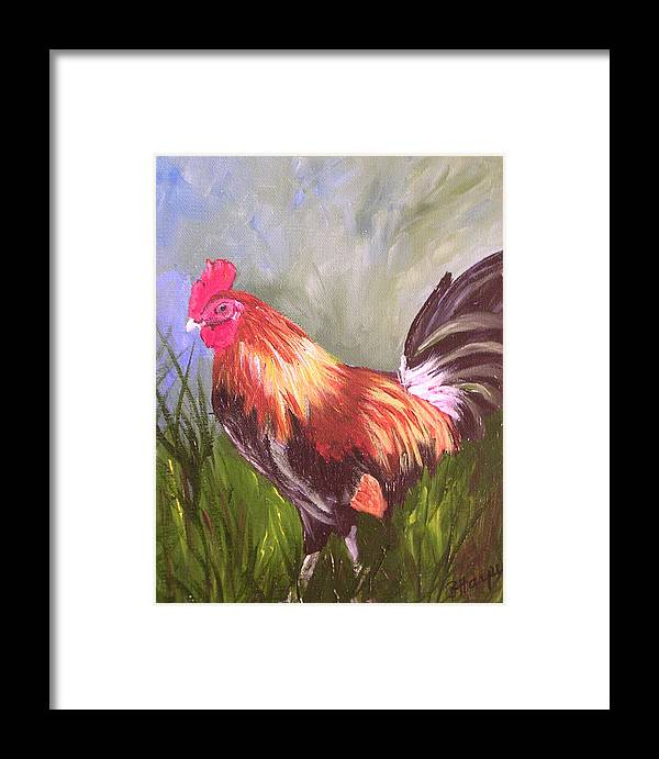 Rooster Framed Print featuring the painting Proud Rooster by Barbara Harper
