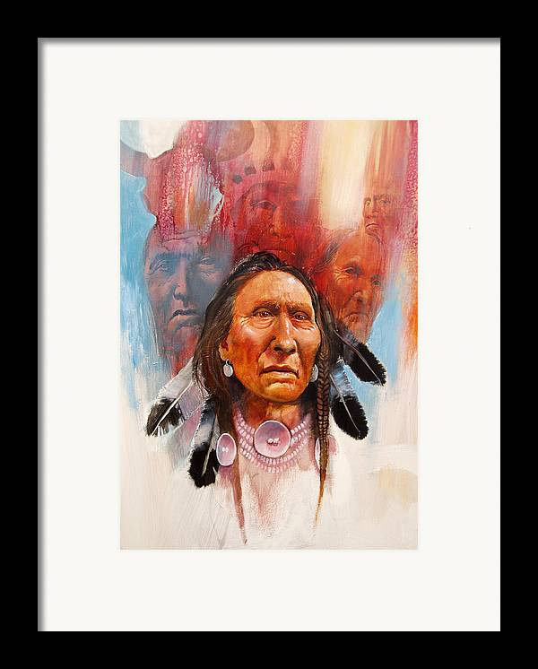 Native American Framed Print featuring the painting Proud Warrior by Robert Carver