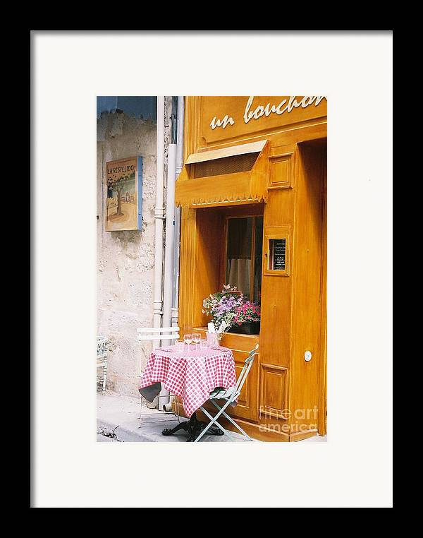 Cafe Framed Print featuring the photograph Provence Cafe by Nadine Rippelmeyer