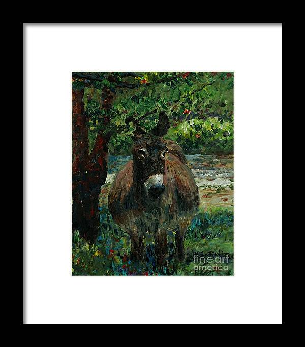 Donkey Framed Print featuring the painting Provence Donkey by Nadine Rippelmeyer