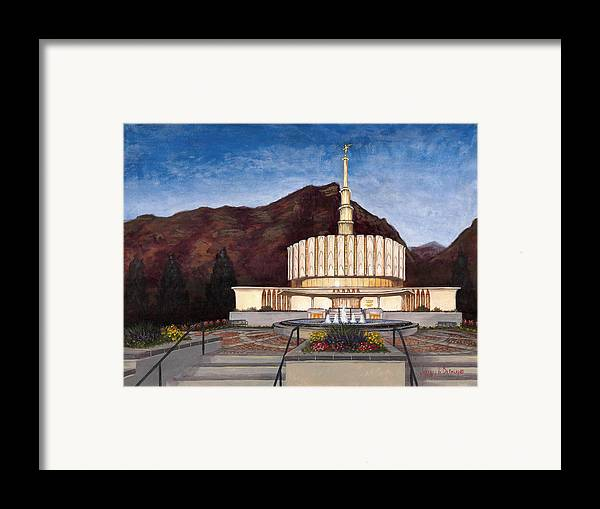 Temple Framed Print featuring the painting Provo Temple by Jeff Brimley
