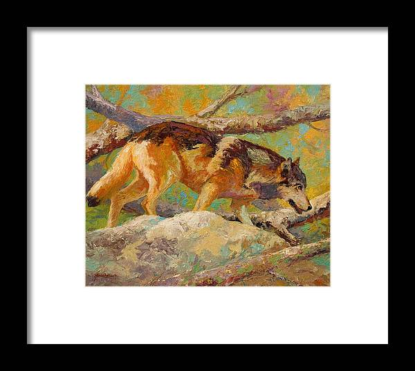 Wolf Framed Print featuring the painting Prowler - Grey Wolf by Marion Rose