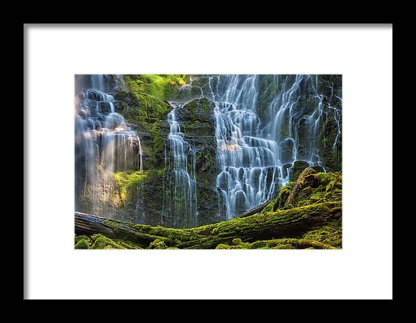 Central Oregon Framed Print featuring the photograph Proxy Falls Dappled In Light by Mark Kiver