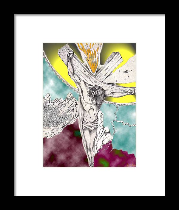 Spiritual Framed Print featuring the digital art Psalm 22 Ch 13-15... by Marco Morales