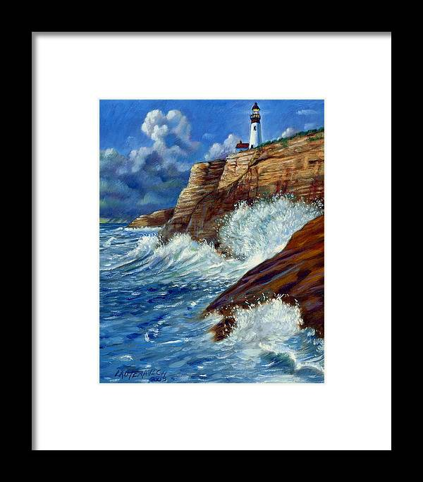 Lighthouse Framed Print featuring the painting Psalm Forty Three-three by John Lautermilch
