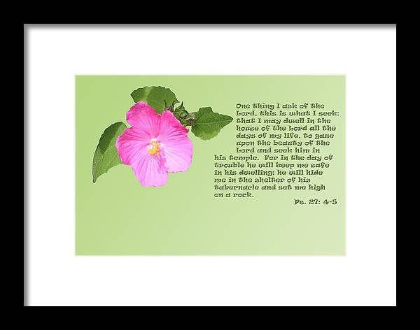 Scripture Framed Print featuring the photograph Psalm Twenty Seven Vs Four To Five With Pink Evening Primrose by Linda Phelps