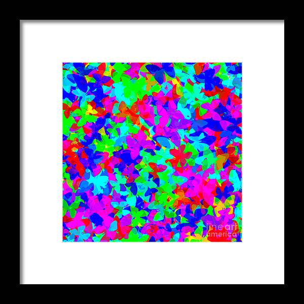 Unique Framed Print featuring the digital art Psychedelic Butterflies by Susan Stevenson