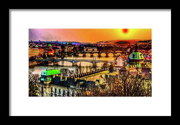 World's Framed Print featuring the digital art Psychedelic Sunset Art by Ron Fleishman